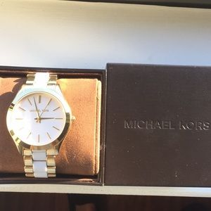 Michael Kors Gold & White Watch